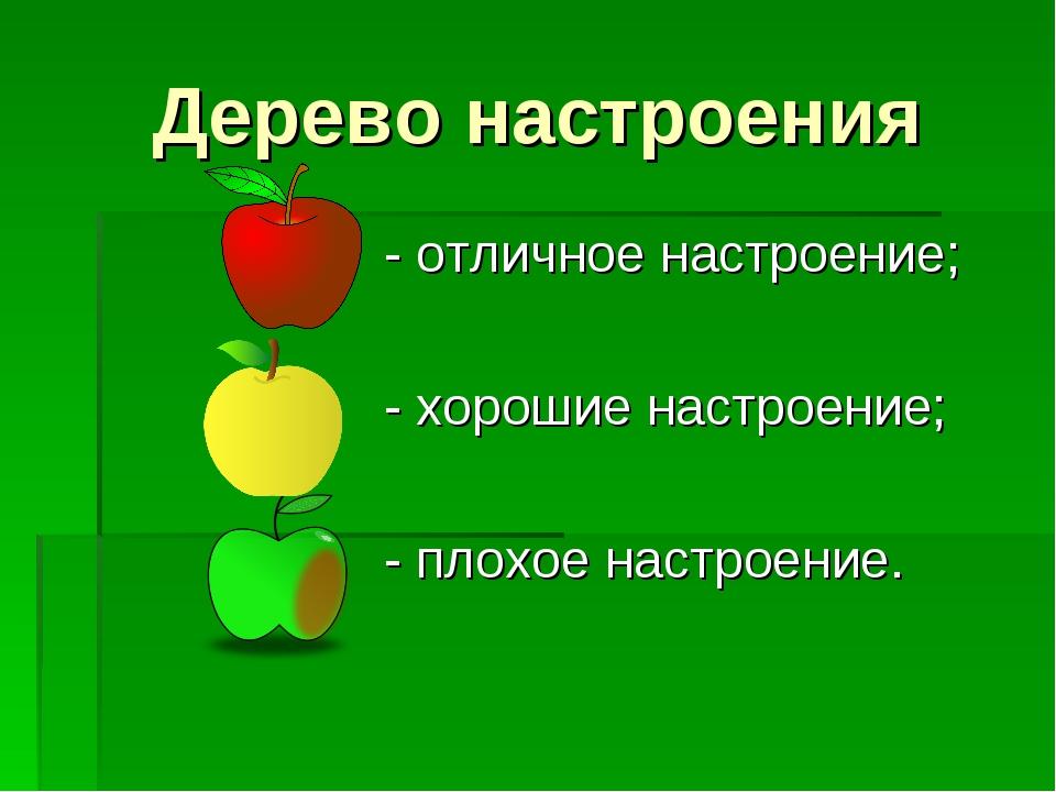 Дерево настроения - отличное настроение; - хорошие настроение; - плохое настр...