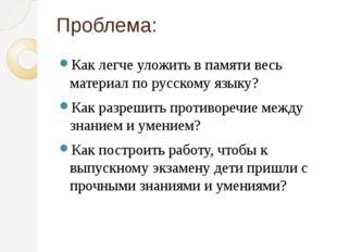 Проблема: Как легче уложить в памяти весь материал по русскому языку? Как раз