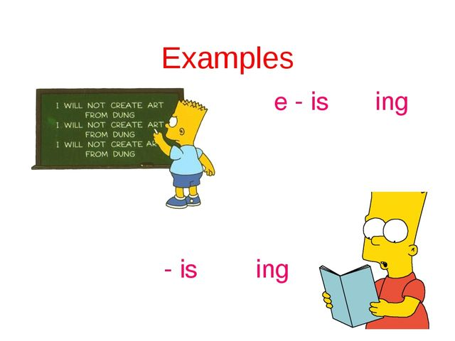 Examples write - is writing read - is reading
