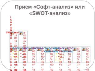 Прием «Софт-анализ» или «SWOT-анализ»