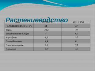 Растениеводство Виды 1990 г. (%) 2014 г. (%) РАСТЕНИЕВОДСТВО 44 37 Зерно 23,