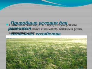 Природные условия для развития сельского хозяйства Волгоградской области Наш