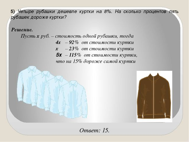 5) Четыре рубашки дешевле куртки на 8%. На сколько процентов пять рубашек дор...