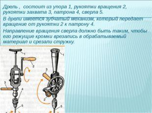 Дрель , состоит из упора 1, рукоятки вращения 2, рукоятки захвата 3, патрона