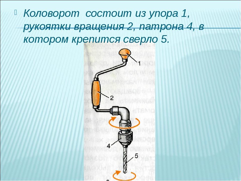 Коловорот состоит из упора 1, рукоятки вращения 2, патрона 4, в котором крепи...