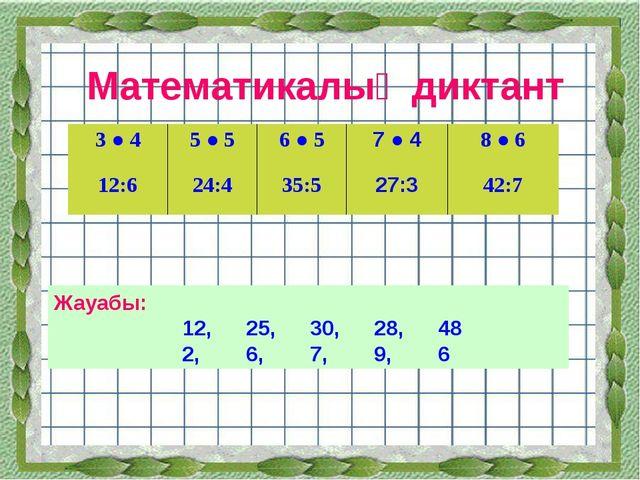 Математикалық диктант Жауабы: 12,25,30,28,48 2,6,7,9,6 3 ● 45 ● 56...
