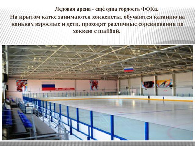 Ледовая арена- ещё одна гордость ФОКа. На крытом катке занимаются хоккеист...