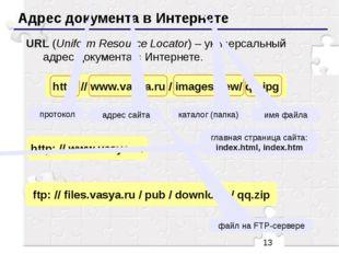 Адрес документа в Интернете URL (Uniform Resource Locator) – универсальный а
