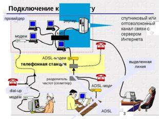 Подключение к Интернету спутниковый или оптоволоконный канал связи с серверо