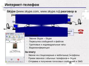 Интернет-телефон Skype (www.skype.com, www.skype.ru) разговор в реальном вре