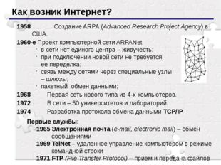 Как возник Интернет? 1958		Создание ARPA (Advanced Research Project Agency)