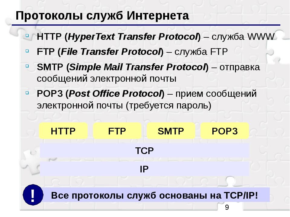 Протоколы служб Интернета HTTP (HyperText Transfer Protocol) – служба WWW FT...