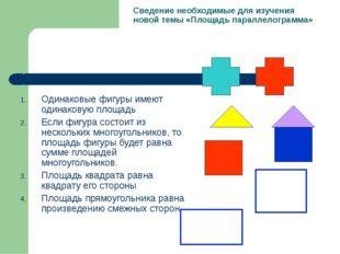 Сведение необходимые для изучения новой темы «Площадь параллелограмма» Одинак