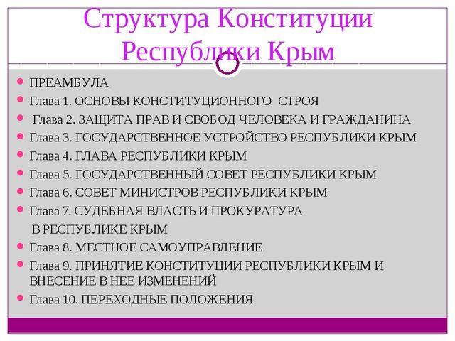Структура Конституции Республики Крым ПРЕАМБУЛА Глава 1. ОСНОВЫ КОНСТИТУЦИОН...