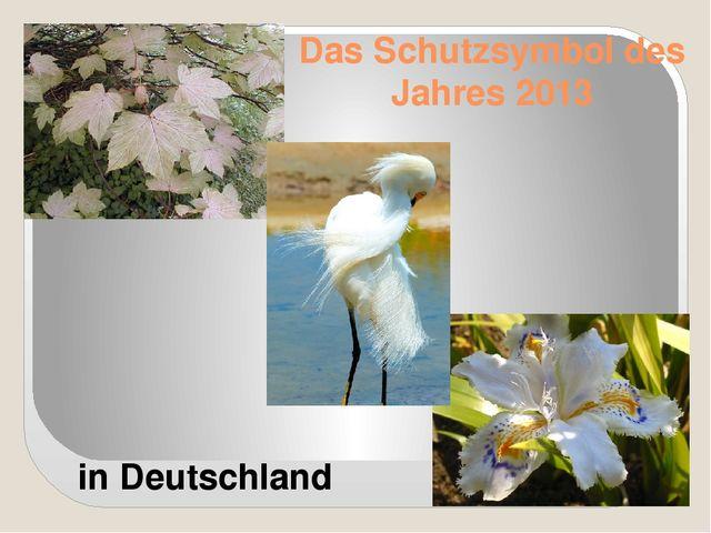 Das Schutzsymbol des Jahres 2013 in Deutschland