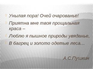 А.С.Пушкин Унылая пора! Очей очарованье! Приятна мне твоя прощальная краса –