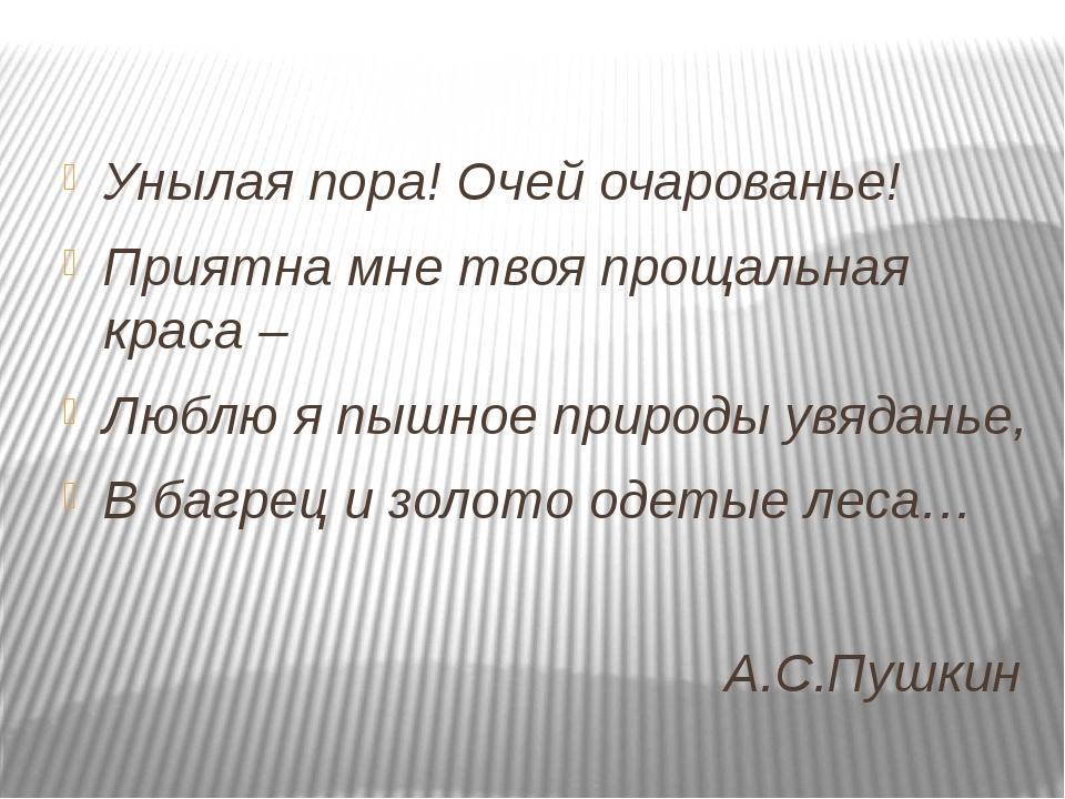 А.С.Пушкин Унылая пора! Очей очарованье! Приятна мне твоя прощальная краса –...
