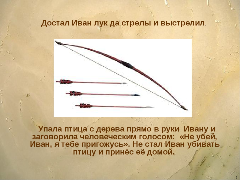 * Достал Иван лук да стрелы и выстрелил. Упала птица с дерева прямо в руки Ив...