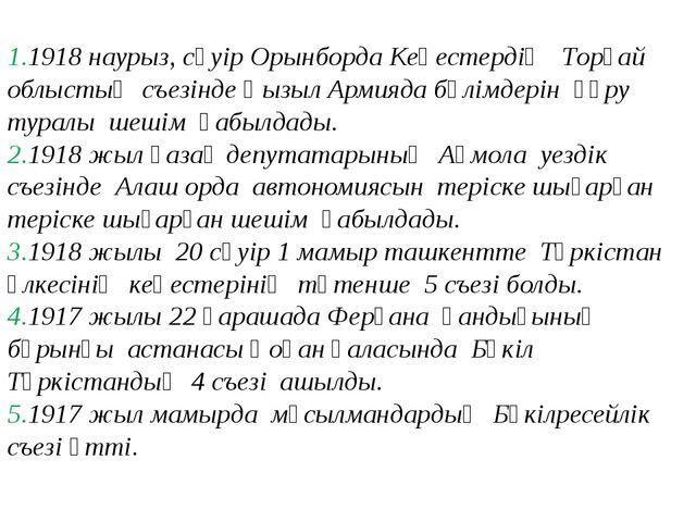 1918 наурыз, сәуір Орынборда Кеңестердің Торғай облыстық съезінде Қызыл Арми...