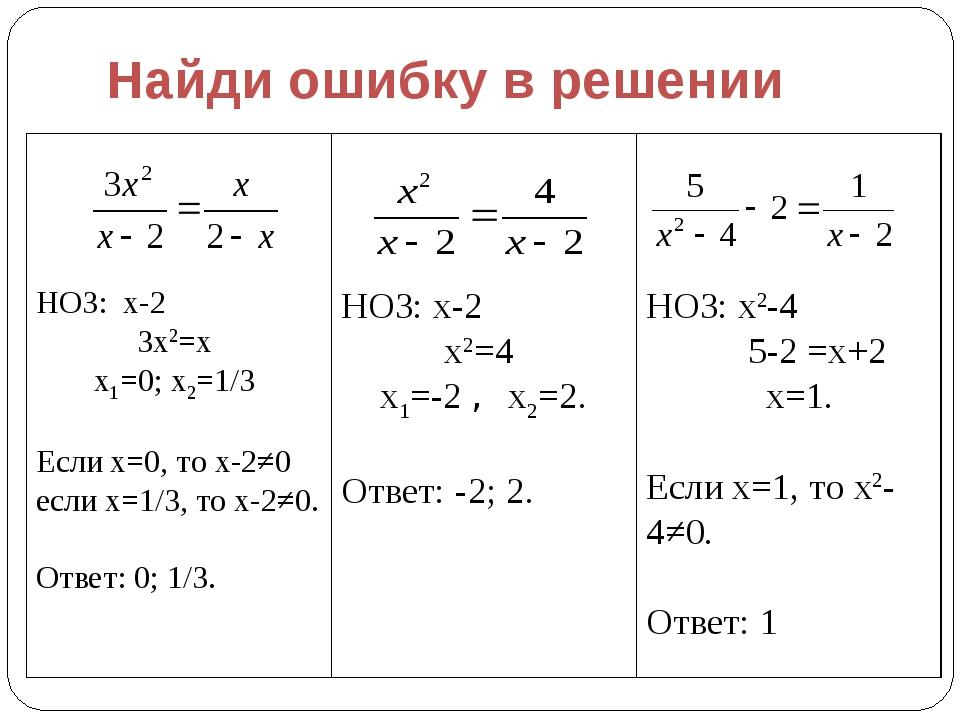 Найди ошибку в решении НОЗ: х-2 3х2=х х1=0; х2=1/3 Если х=0, то х-2≠0 если х=...