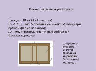 Расчет шпации и расставов Шпация= Шо.+2Р (Р-расстав) Р= А+2Тк., где А-постоян