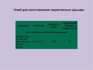 Клей для изготовления переплетных крышек Описание EUKALIN Вязкость, мПа*с Сод