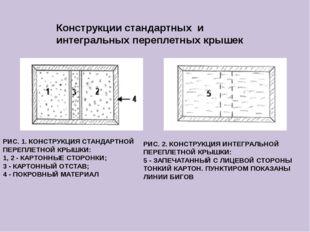 Конструкции стандартных и интегральных переплетных крышек РИС. 1. КОНСТРУКЦИЯ