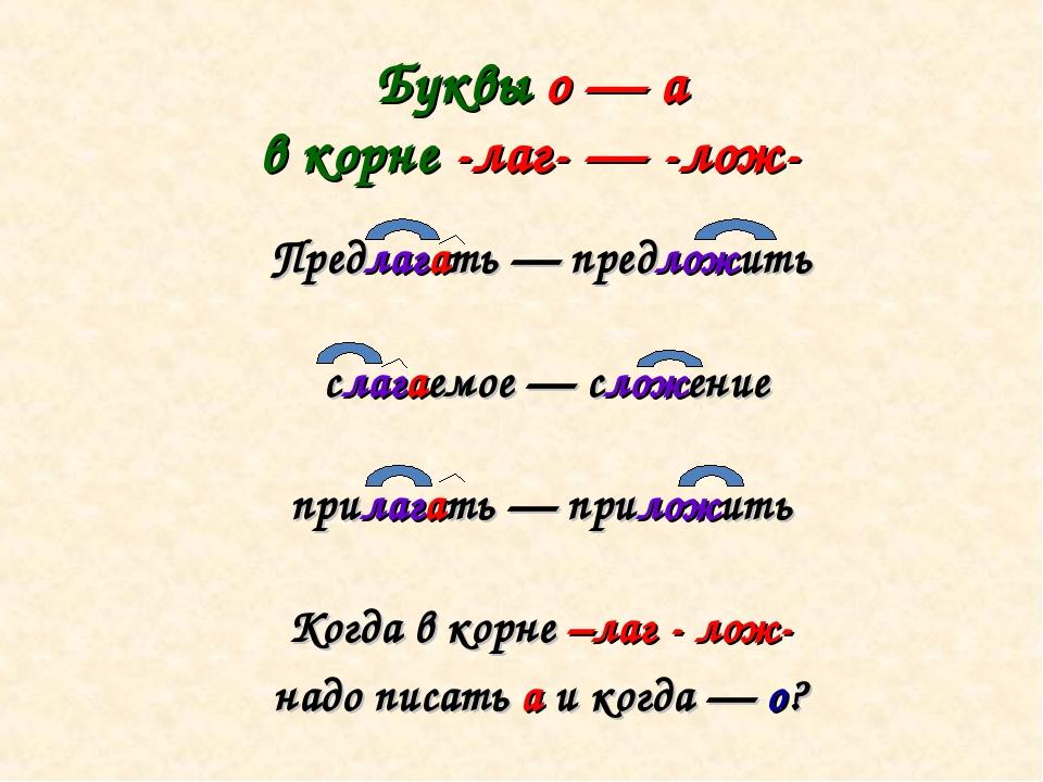 Буквы о — а в корне -лаг- — -лож- Предлагать — предложить слагаемое — сложени...