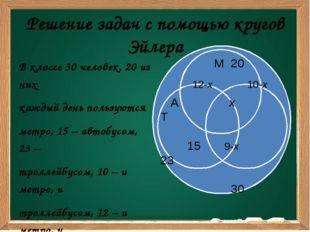 Решение задач с помощью кругов Эйлера В классе 30 человек. 20 из них каждый д