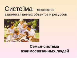 Систе́ма— множество взаимосвязанных объектов и ресурсов Семья-система взаимос