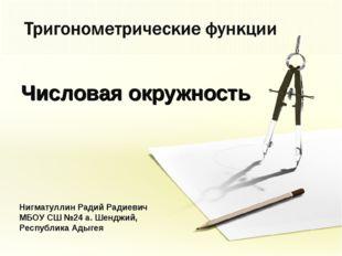 Числовая окружность Нигматуллин Радий Радиевич МБОУ СШ №24 а. Шенджий, Респуб
