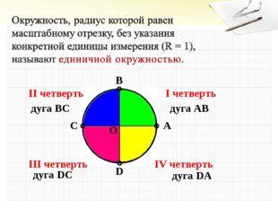 A B C D O I четверть II четверть III четверть IV четверть дуга AB дуга BC дуг