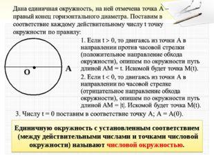 O A Единичную окружность с установленным соответствием (между действительными