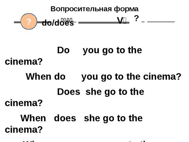 Вопросительная форма ‗‗‗‗‗‗‗‗ подл. ‗‗‗‗‗‗‗‗‗‗‗ ? Do you go to the cinema? Wh...
