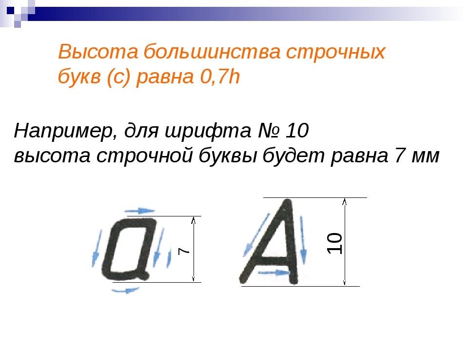 Высота большинства строчных букв (с) равна 0,7h Например, для шрифта № 10 выс...