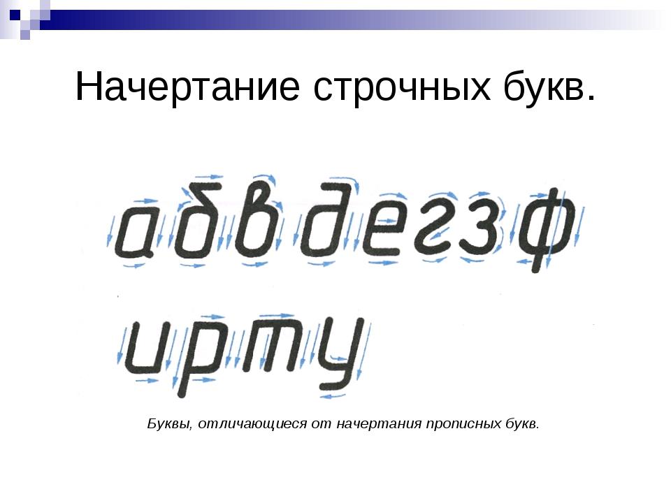 Начертание строчных букв. Буквы, отличающиеся от начертания прописных букв.