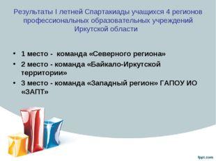 Результаты I летней Спартакиады учащихся 4 регионов профессиональных образова