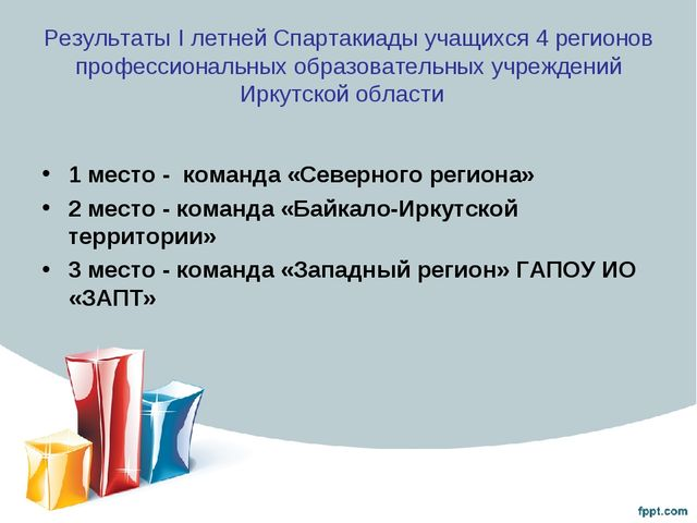 Результаты I летней Спартакиады учащихся 4 регионов профессиональных образова...
