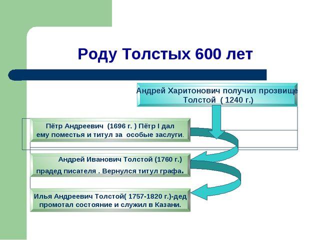 Роду Толстых 600 лет