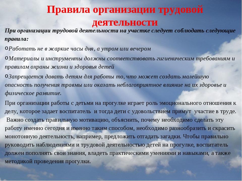Правила организации трудовой деятельности При организации трудовой деятельнос...