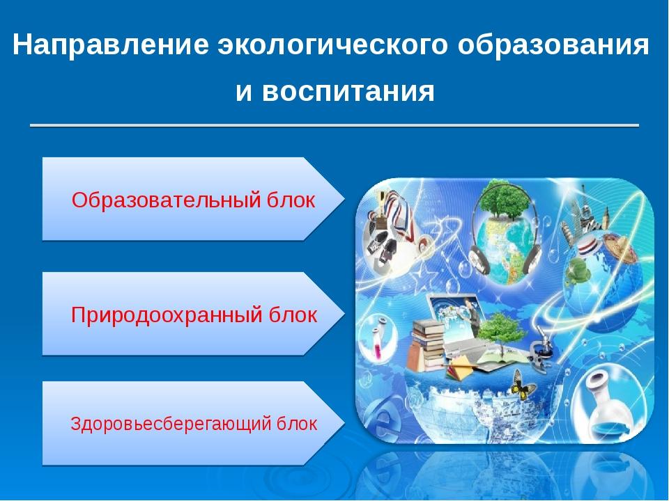 Направление экологического образования и воспитания Образовательный блок Прир...
