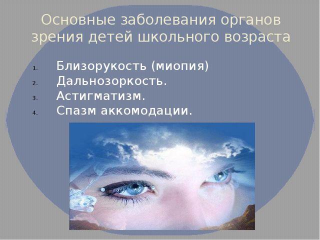 Основные заболевания органов зрения детей школьного возраста Близорукость (ми...