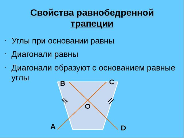 Свойства равнобедренной трапеции Углы при основании равны Диагонали равны Диа...