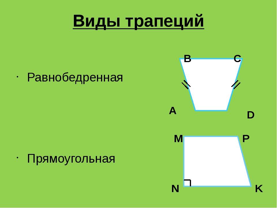 Виды трапеций Равнобедренная Прямоугольная A B C D M N K P