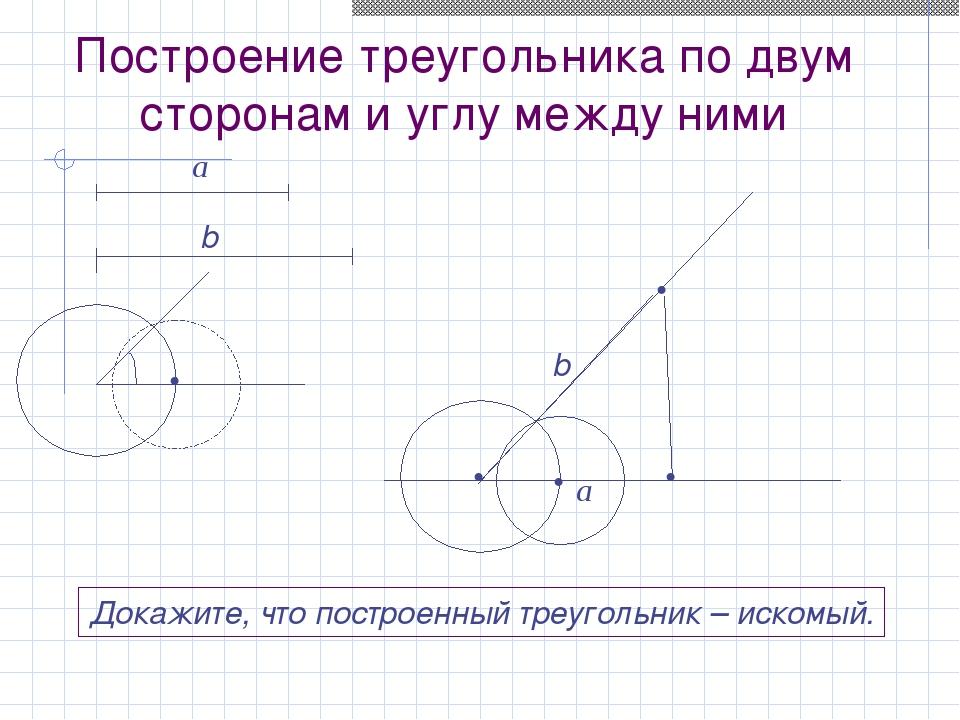 Построение треугольника по двум сторонам и углу между ними a b β • • • • • До...