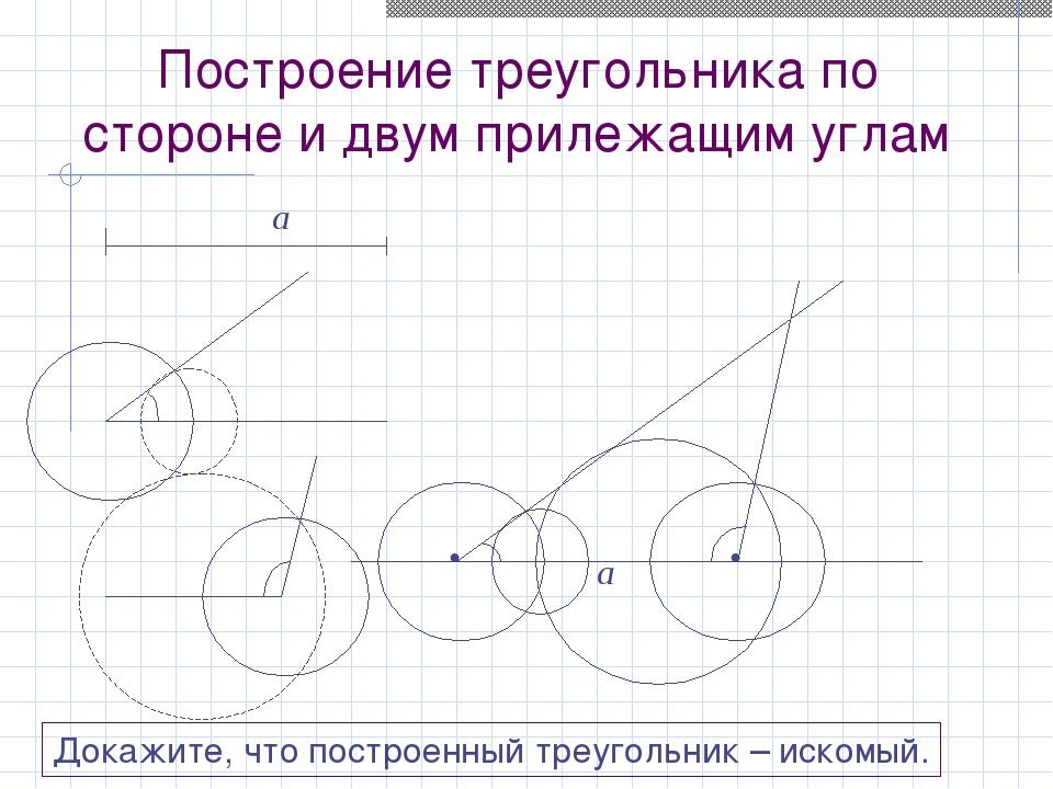 Построение треугольника по стороне и двум прилежащим углам a β γ • • a β γ До...