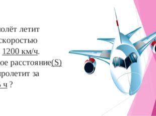 Самолёт летит со скоростью (V) 1200 км/ч. Какое расстояние(S) он пролетит за