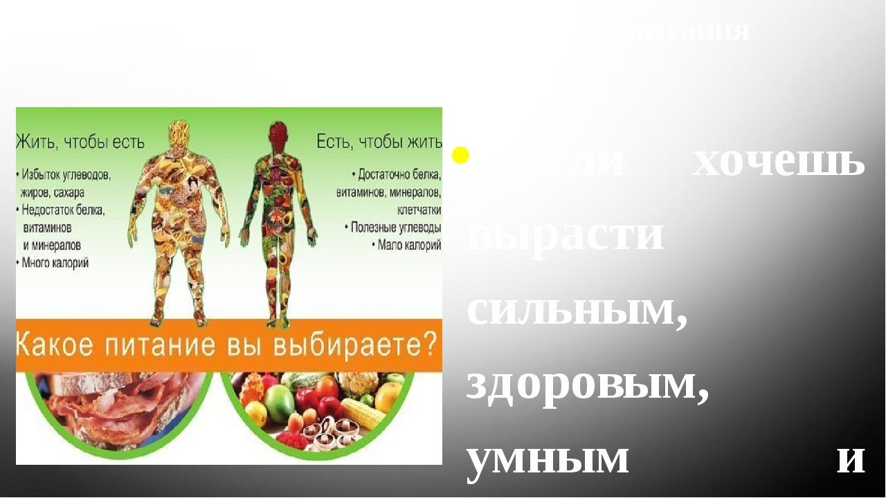 Основные правила правильного питания 1.Если хочешь вырасти сильным, здоровым,...