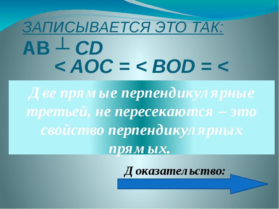 ЗАПИСЫВАЕТСЯ ЭТО ТАК: АВ ┴ СD < AOC = < BOD = < AOD = 900 Две прямые перпенди...