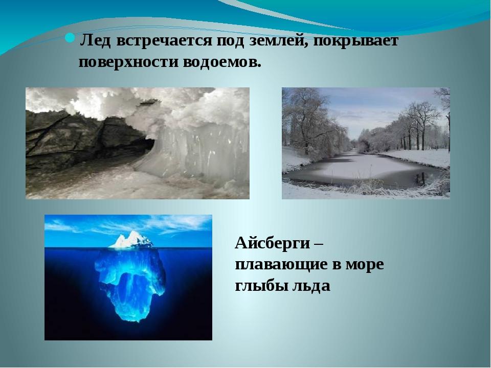 Лед встречается под землей, покрывает поверхности водоемов. Айсберги – плаваю...